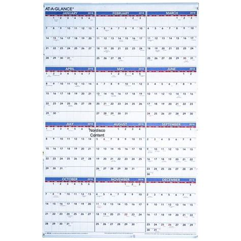 """At A Glance PM12 28 2018 Yearly Wall Calendar, 24 x 36""""   Nordisco.com"""