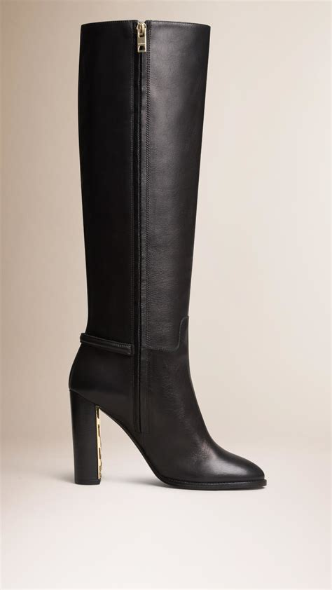 leather boots burberry knee high leather boots in black lyst