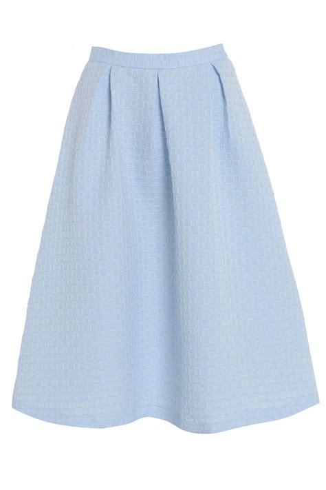 baby blue texture pleated below knee skirt ebay