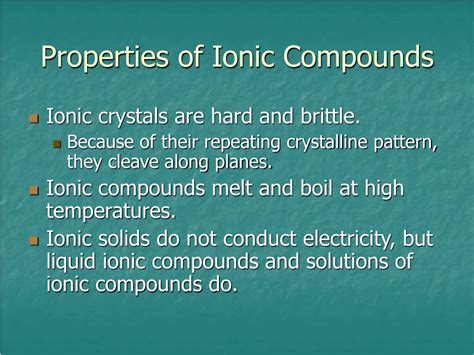 properties of ionic compounds and their explanation
