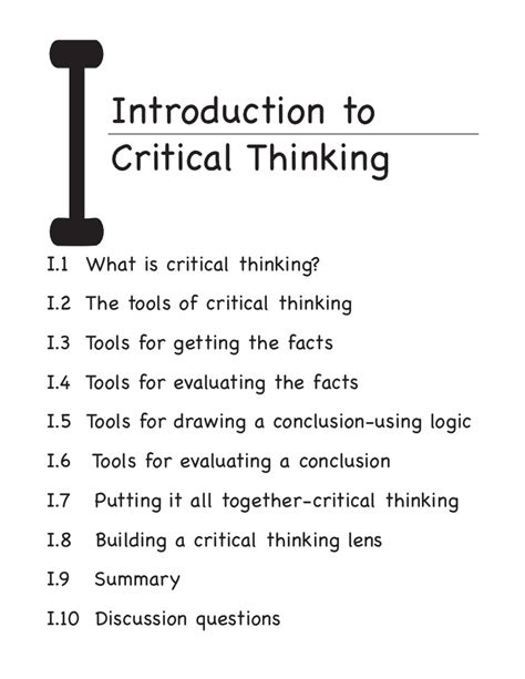 Critical Essay Introduction Exle by Conclusions In Critical Thinking