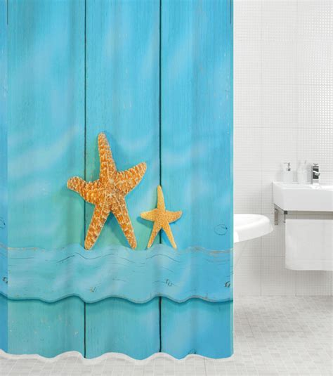 starfish shower curtain hooks high quality polyester shower curtain anti mould with