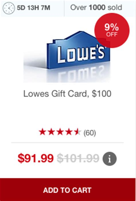 Discount Lowes Gift Cards - staples discounted lowe s gift cards