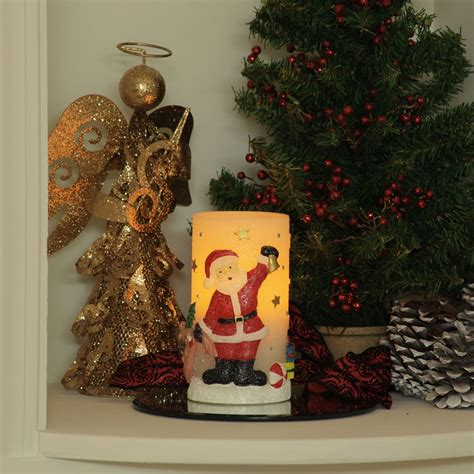holiday bliss santa or snowman flameless pillar candle