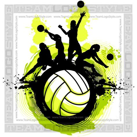 volleyball design vector clipart players