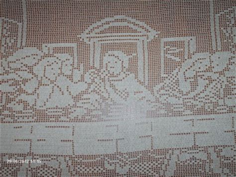 Filet Crochet Patterns For Home Decor Sale The Last Supper Filet Crochet Tablecloth Wall Decor Home Decor Meylah