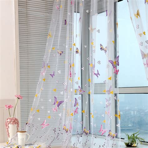 washing voile curtains floral butterfly sheer curtains sheers voile tulle window
