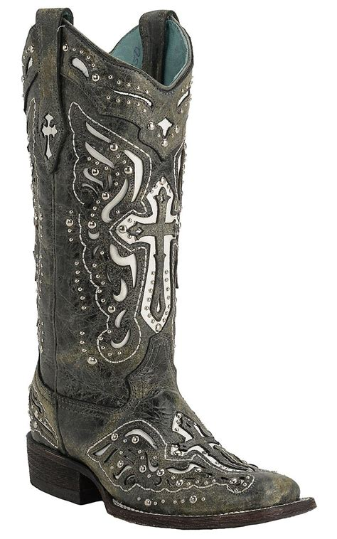 boots with crosses corral s distressed black w white from cavender s