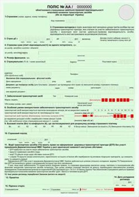 New forms of Compulsory Liability Car Insurance policy