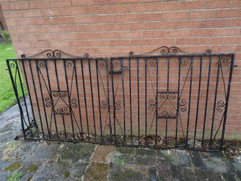 french country reclaimed wood folding wrought iron side antique art nouveau pair wrought iron driveway side gates