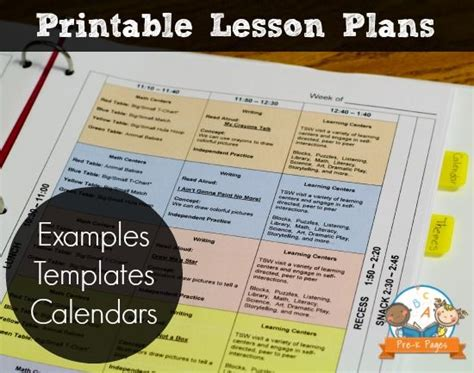 printable lesson plan binder lesson plan template kindergarten binder templates and