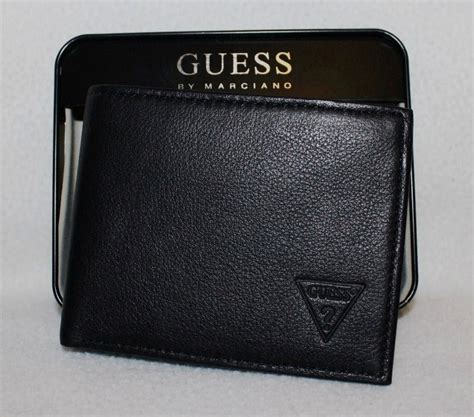 Guess Wallet New 3 new guess s genuine leather id pass wallet black ebay
