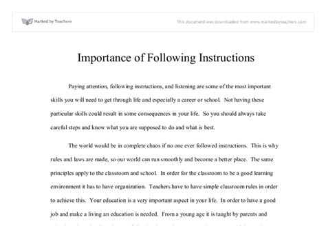 The Importance Of In Peoples Essay by Importance Of Following Gcse Miscellaneous Marked By Teachers