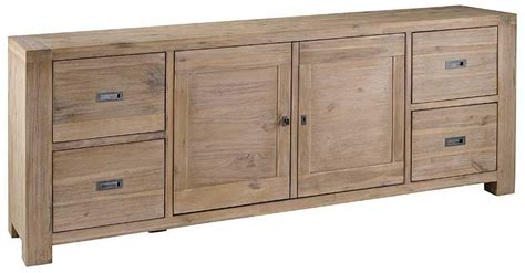meuble bas 2 portes 4 tiroirs nevada en acacia 220x45x85cm