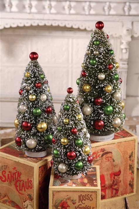 bethany lowe 3 pc bottle brush christmas tree set green