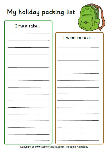 Holiday Packing List Template Holiday Packing List For Kids Page 2