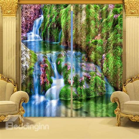 scenery curtains beautiful mountain stream scenery energy saving 3d curtain