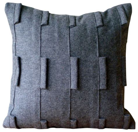 sophistication charcoal grey felt throw pillow cover