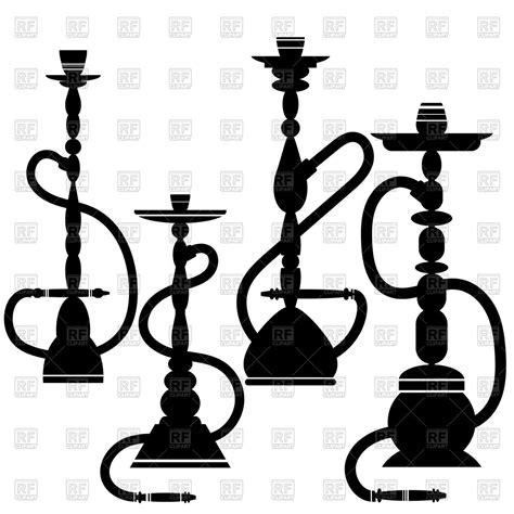 eps clipart set of hookahs silhouettes royalty free vector clip