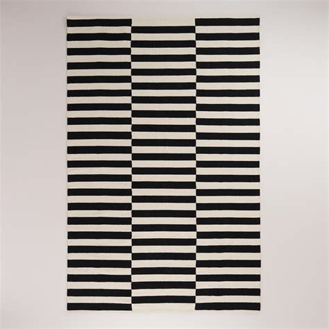 black and striped dhurrie rug world market