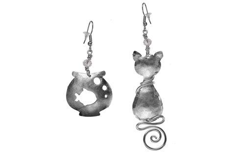 boucles d oreilles chat poisson en bocal de fabrication