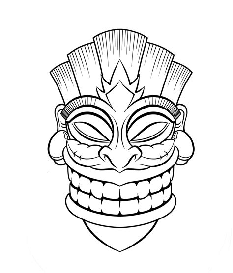Tiki Clip Art Cliparts Co Tiki Mask Coloring Pages