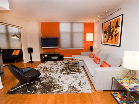 orange contemporary living room photos hgtv
