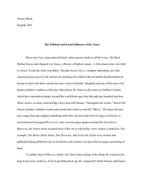Dr Seuss Essay by The Political And Social Influence Of Dr Seuss