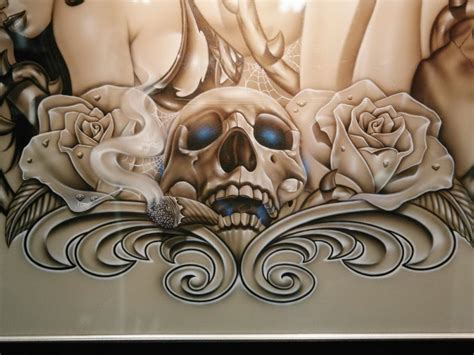 lowrider arte tattoos elias airbrushed skull lowrider arte magazine article