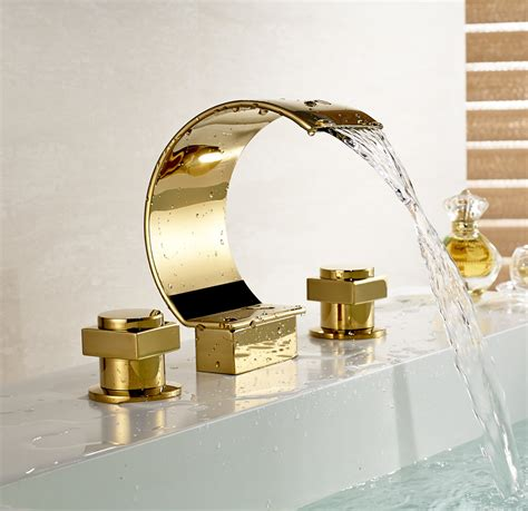 Gold Bathroom Fixtures Widespread 3 Holes Waterfall Basin Faucet Gold Finish Bathroom Sink Mixer Tap In Basin Faucets