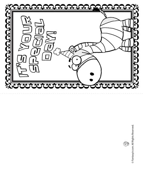 printable birthday cards free to color printable coloring birthday cards cute zebra woo jr