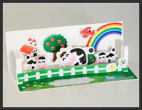 Pop Up Paper Crafts - happy cows pop up card free paper craft