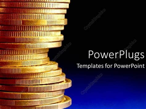 Powerpoint Template Stack Of Gold Coins Over Blue Background 14591 Powerpoint Challenge Coin Template