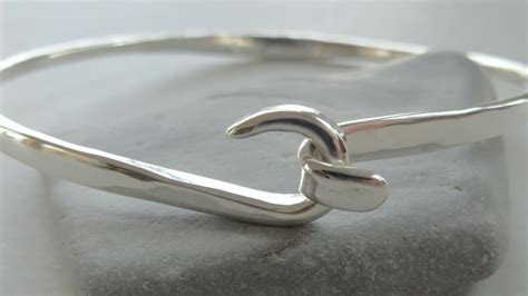 Handmade Silver Bangles - sterling silver bangle latch bracelet