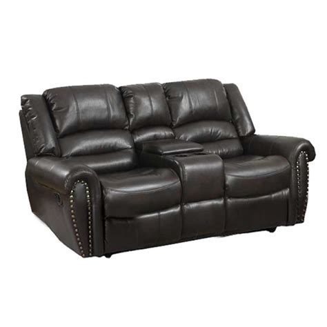 Leather 2 Seater Recliner by Gino Leather 2 Seater Recliner With Console Decofurn