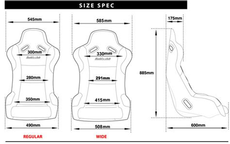 seat size buddy club grey racing spec seat gsm sport seats