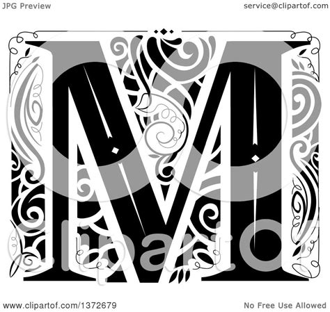 clipart of a black and white vintage letter m monogram