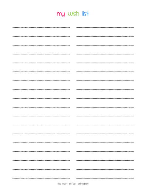wish list template free printable printable wish list template sles vlcpeque