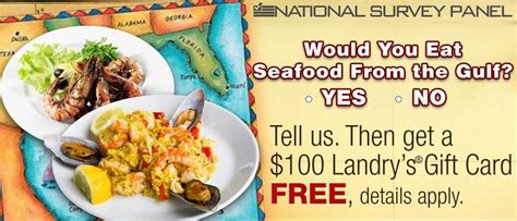 Landrys Gift Card - gulf seafood survey get 100 landry s gift card free landry s gift card prlog