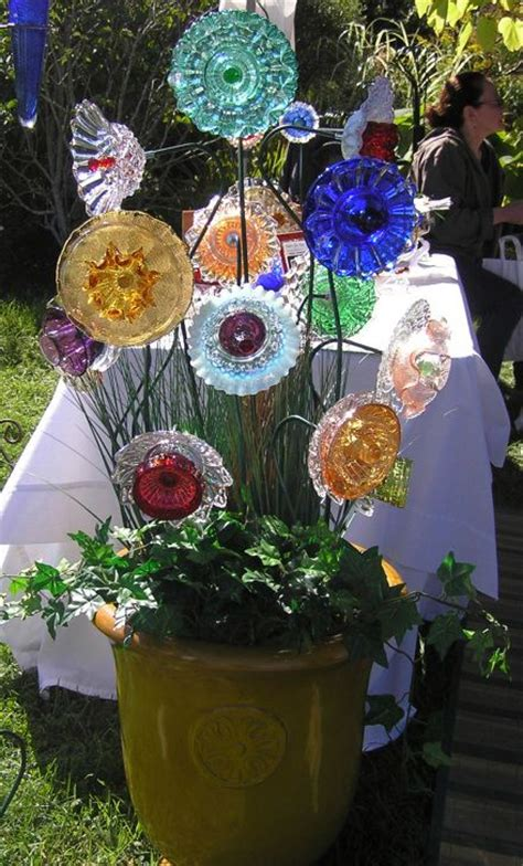 Glass Flowers For Garden Re Purposed Glass Plates As Flowers Garden Style