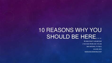 10 I And Why by 10 Reasons Why You Should Be Here