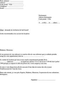 modele lettre resiliation de bail appartement document