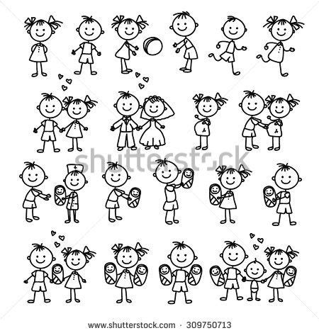 stick figure tattoo designs vector set of happy family doodle illustration stick