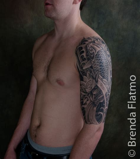 koi fish tattoo sleeve black and grey koi and lotus half sleeve healed 187 brenda flatmo tattoo