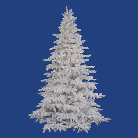 6 5 foot flocked white spruce christmas tree all lit