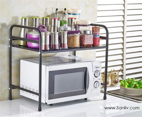 black kitchen storage rack microwave cart stand shelf