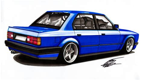 bmw car drawing realistic car drawing bmw e30 time lapse