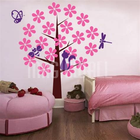 butterfly and flower wall stickers wall decals butterfly cat tree wall stickers