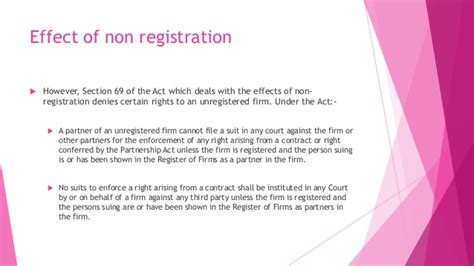 section 69 of partnership act is it mandatory to register a partnership firm