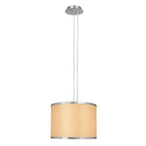 hton bay 1 light beige and brushed steel pendant with